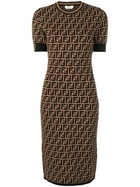 FF Logo Midi Knit Dress