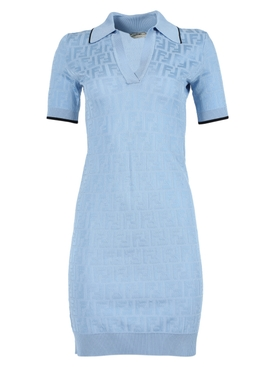 Light blue logo print dress