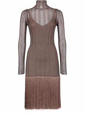 FRINGED SHEER KNIT DRESS BROWN