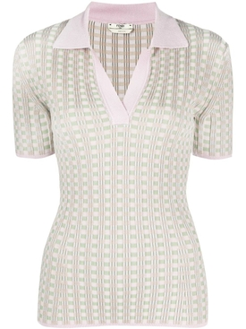 Fendi - Light Pink And Green V-neck Top - Women