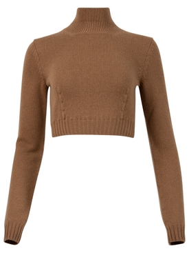 CROPPED CASHMERE SWEATER BROWN