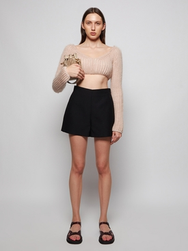 Mohair wool cropped knit Promise Beige
