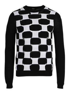 Black and white woven sweater