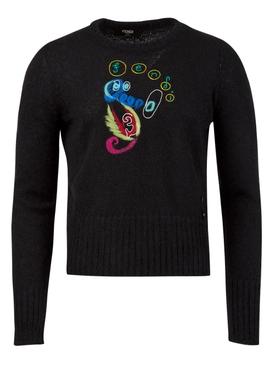 X Noel Fielding Mohair Knit Seahorse Sweater Black