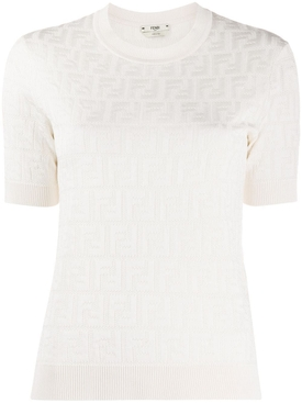 White Tonal Logo Knit Top