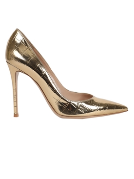 Gold-tone croc-embossed pumps
