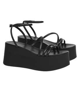 Black leather Bekah platform sandals