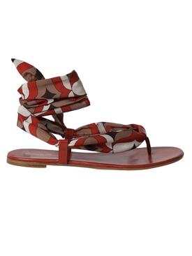 Silk scarf ankle-tie sandal