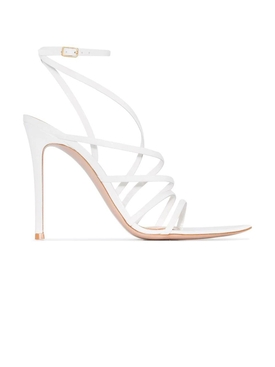 White Strappy Patent Sandals