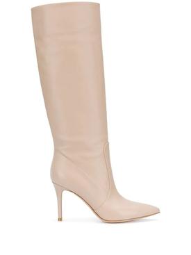 Calf skin leather glove boots moose beige