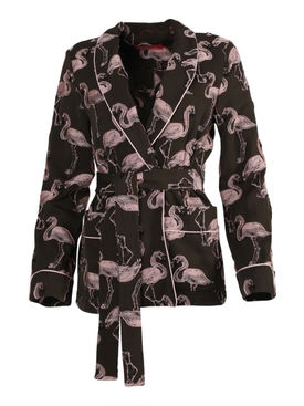 For Restless Sleepers - Brown And Pink Flamingo Print Smoking Jacket - Women