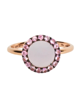 ROUND CABOCHON BLUE CHALCEDONY & PINK SAPPHIRE RING