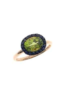 Oval Gemstone Ring PERIDOT & GREEN GARNET