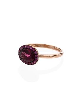 Oval Gemstone Ring GARNET & PINK SAPPHIRE