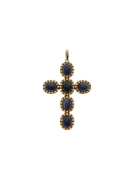 Iolite and Citrine Gem Cross Pendant