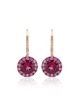 Sapphire and diamond round earrings