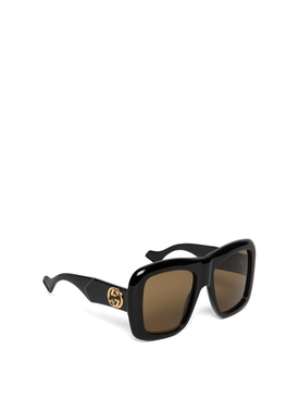 OVERSIZED SQUARE SUNGLASSES BLACK AND BROWN