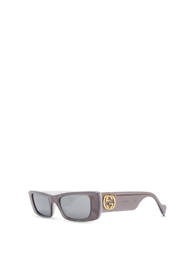 Rectangular Frame Sunglasses Marbled Silver Grey
