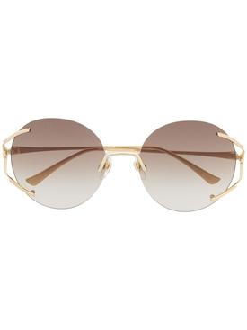Round rimless logo sunglasses