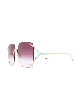 Purple square rimless logo sunglasses