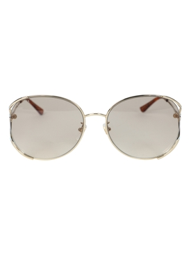 Gucci - Oversized Round Light Grey Tint Sunglasses - Women