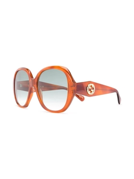 Orange large round sunglasses