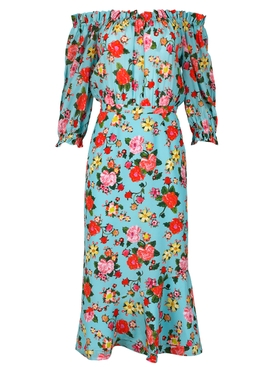 floral print off shoulder midi dress0