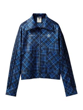 X WALES BONNER CHECK TARTAN TRACK JACKET, BLUE
