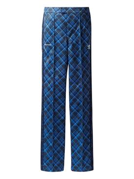 X WALES BONNER TARTAN TRACK PANTS, BLUE