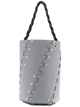 Grey Medium Studded Hex Bucket Bag