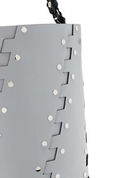 Grey Medium Studded Hex Bucket Bag
