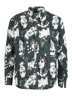 Green graphic print shirt