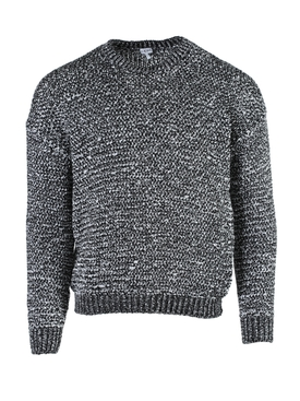Black and White Melange Crew-neck Sweater