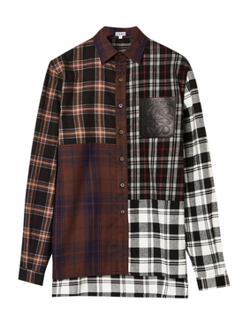 CHECK PRINT PATCHWORK SHIRT
