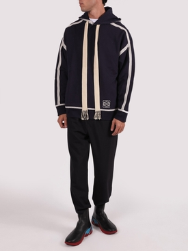 Navy and off-white anagram embroidered hoodie