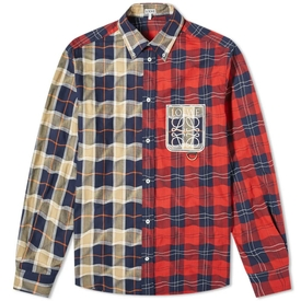 MULTICOLORED DUAL PATCHWORK CHECK SHIRT