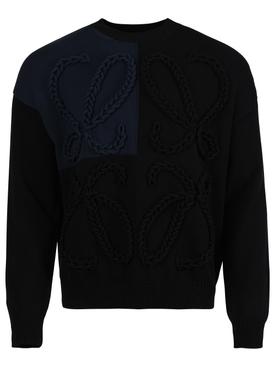 BLACK AND NAVY ANAGRAM EMBROIDERED SWEATER
