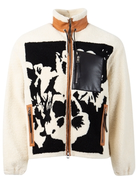 SHEARLING PANSIES JACKET SOFT WHITE AND BLACK