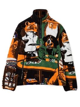 ELN Dog Poker Anorak Fleece Jacket Multicolor