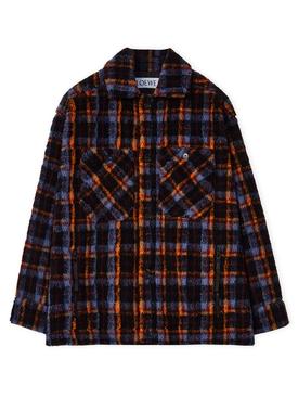 ELN Check Fleece Overshirt Burgundy and Navy
