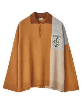 ELN Poloneck Sweater Brown and Beige