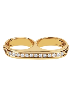 DOUBLE BARREL RING WITH DIAMONDS
