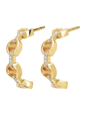 CRESCENT EARRINGS WITH DIAMOND BRIDGES