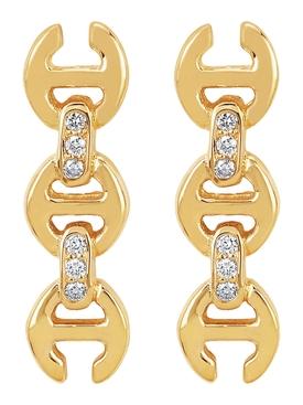 TOGGLE EARRING STUDS WITH DIAMOND BRIDGES