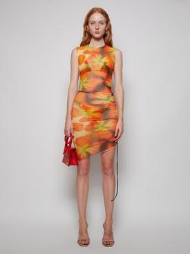 Heatwave Ruched Mesh Dress Tangerine Sun