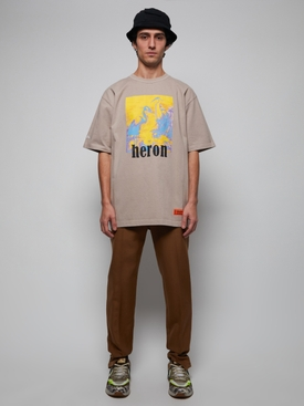 Heron Picture T-Shirt Taupe/Yellow
