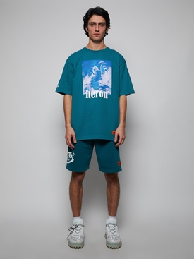 Heron Picture T-Shirt Petrol Blue