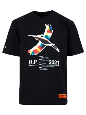 Rainbow heron graphic tee, BLACK