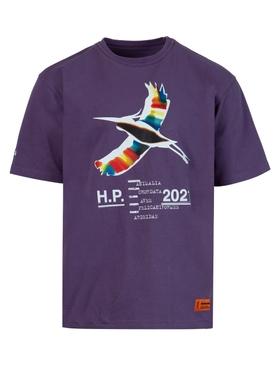 Rainbow heron graphic tee, PURPLE