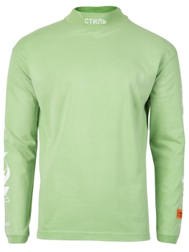 LONG-SLEEVE TURTLENECK TOP Green and White